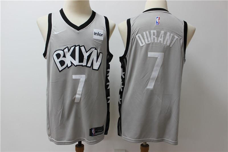Nets 7 Kevin Durant Gray Nike Swingman Jersey