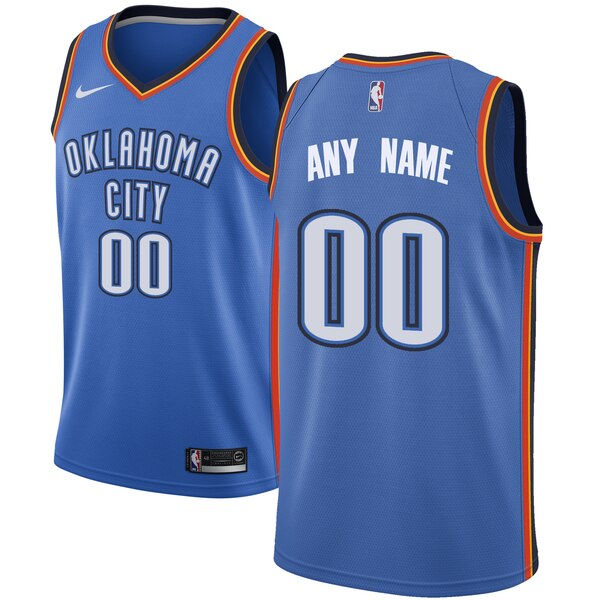 Thunder Blue Men's Customized Nike Swingman Jersey
