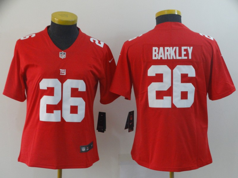 Nike Giants 26 Saquon Barkley Red Women Inverted Legend Limited Jersey