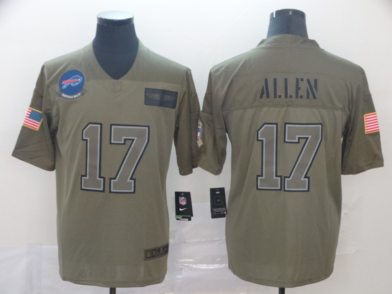 Nike Bills 17 Josh Allen 2019 Olive Salute To Service Limited Jersey