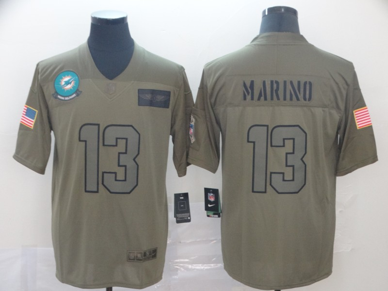 Nike Dolphins 13 Dan Marino 2019 Olive Salute To Service Limited Jersey