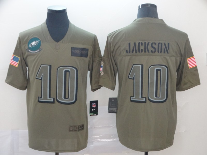 Nike Eagles 10 DeSean Jackson 2019 Olive Salute To Service Limited Jersey