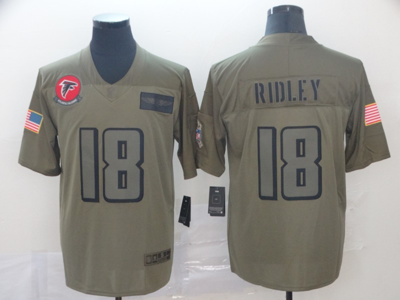 Nike Falcons 18 Calvin Ridley 2019 Olive Salute To Service Limited Jersey