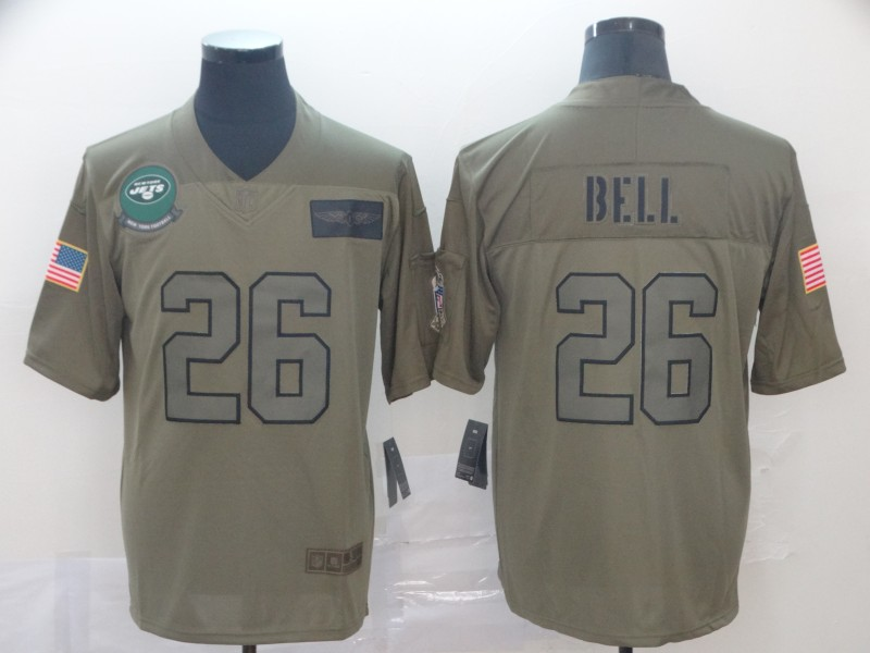 Nike Jets 26 Le'Veon Bell 2019 Olive Salute To Service Limited Jersey