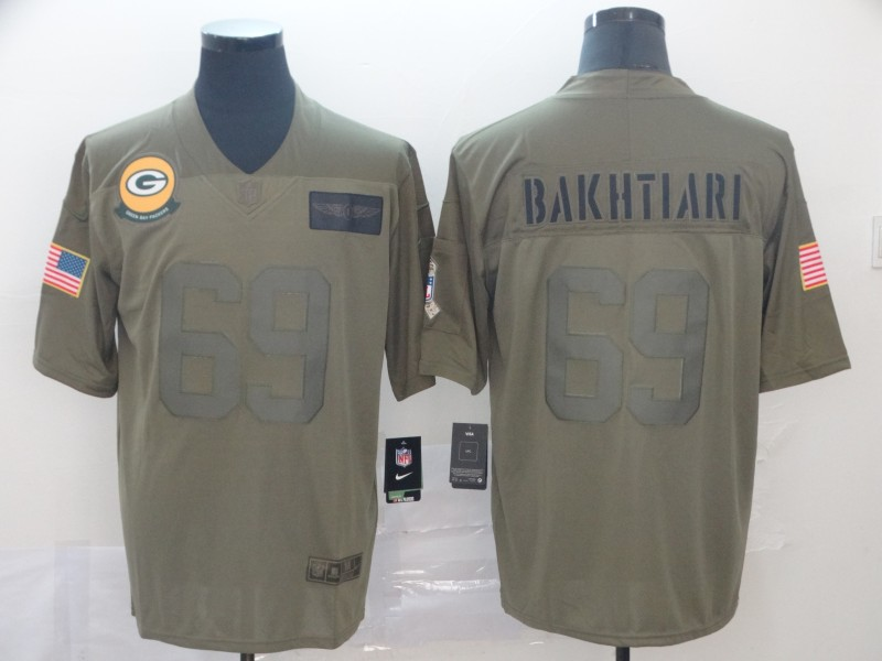 Nike Packers 69 David Bakhtiari 2019 Olive Salute To Service Limited Jersey