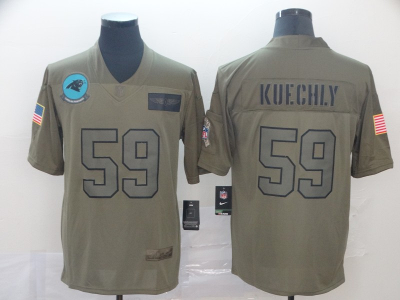 Nike Panthers 59 Luke Kuechly 2019 Olive Salute To Service Limited Jersey