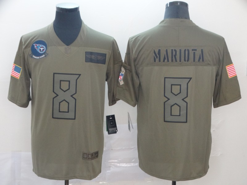 Nike Titans 8 Marcus Mariota 2019 Olive Salute To Service Limited Jersey