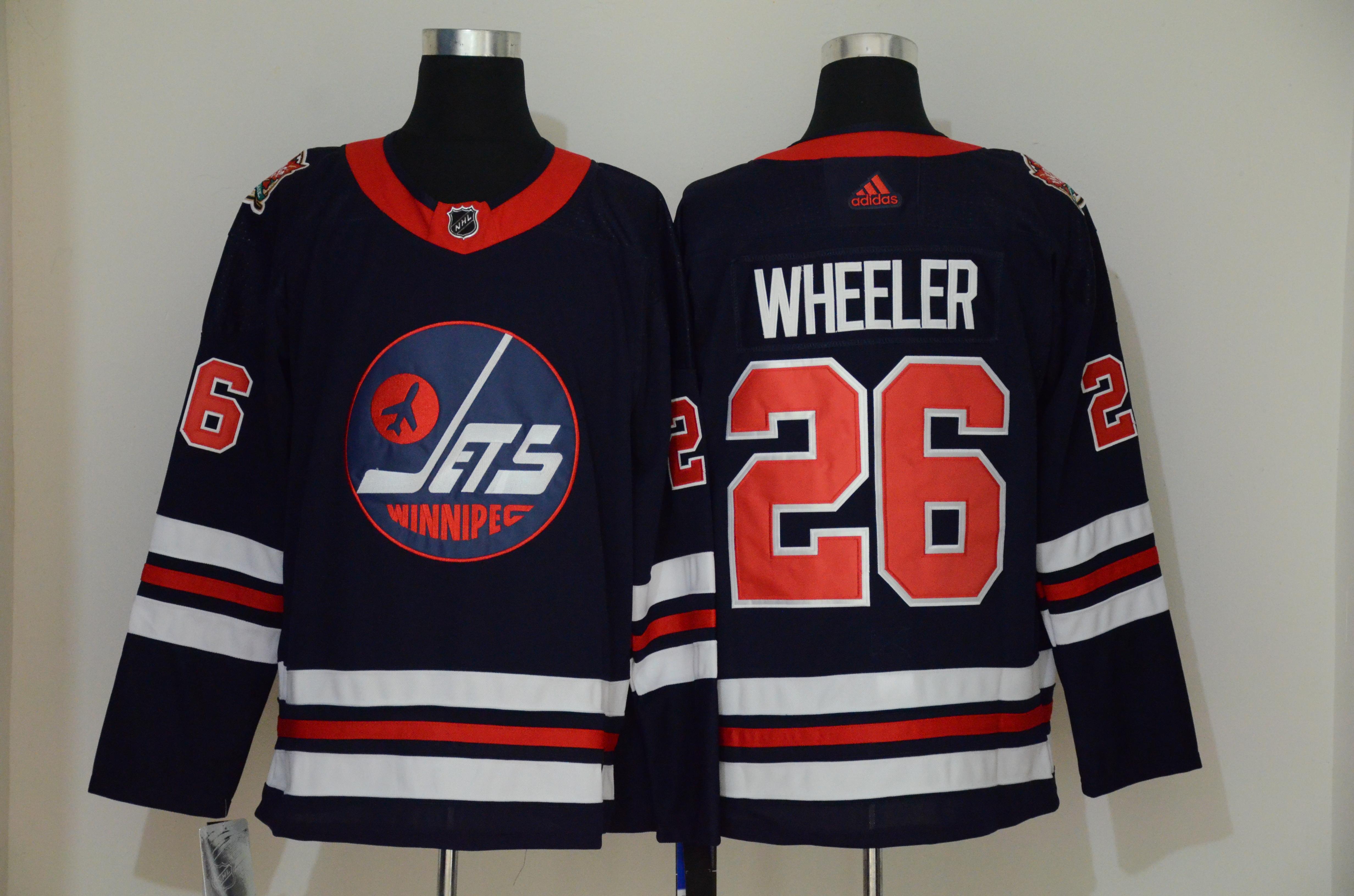 Winnipeg Jets 26 Blake Wheeler Navy 2019 Heritage Classic Breakaway Adidas Jersey