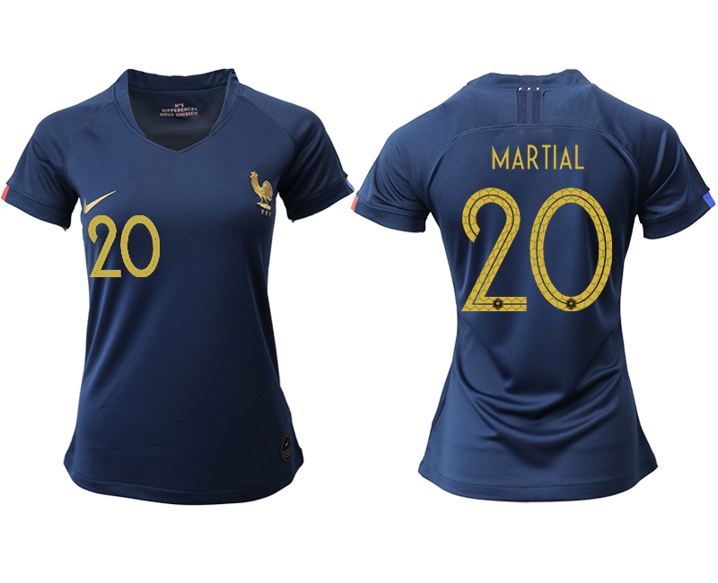 2019-20 France 20 MARTIAL Homen Women Soccer Jersey