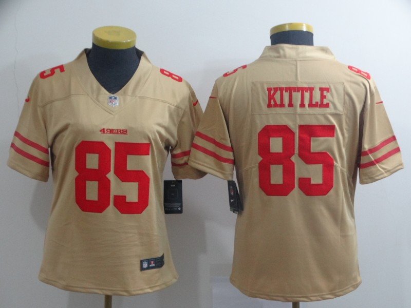 Nike 49ers 85 George Kittle Cream Women Inverted Legend Limited Jersey