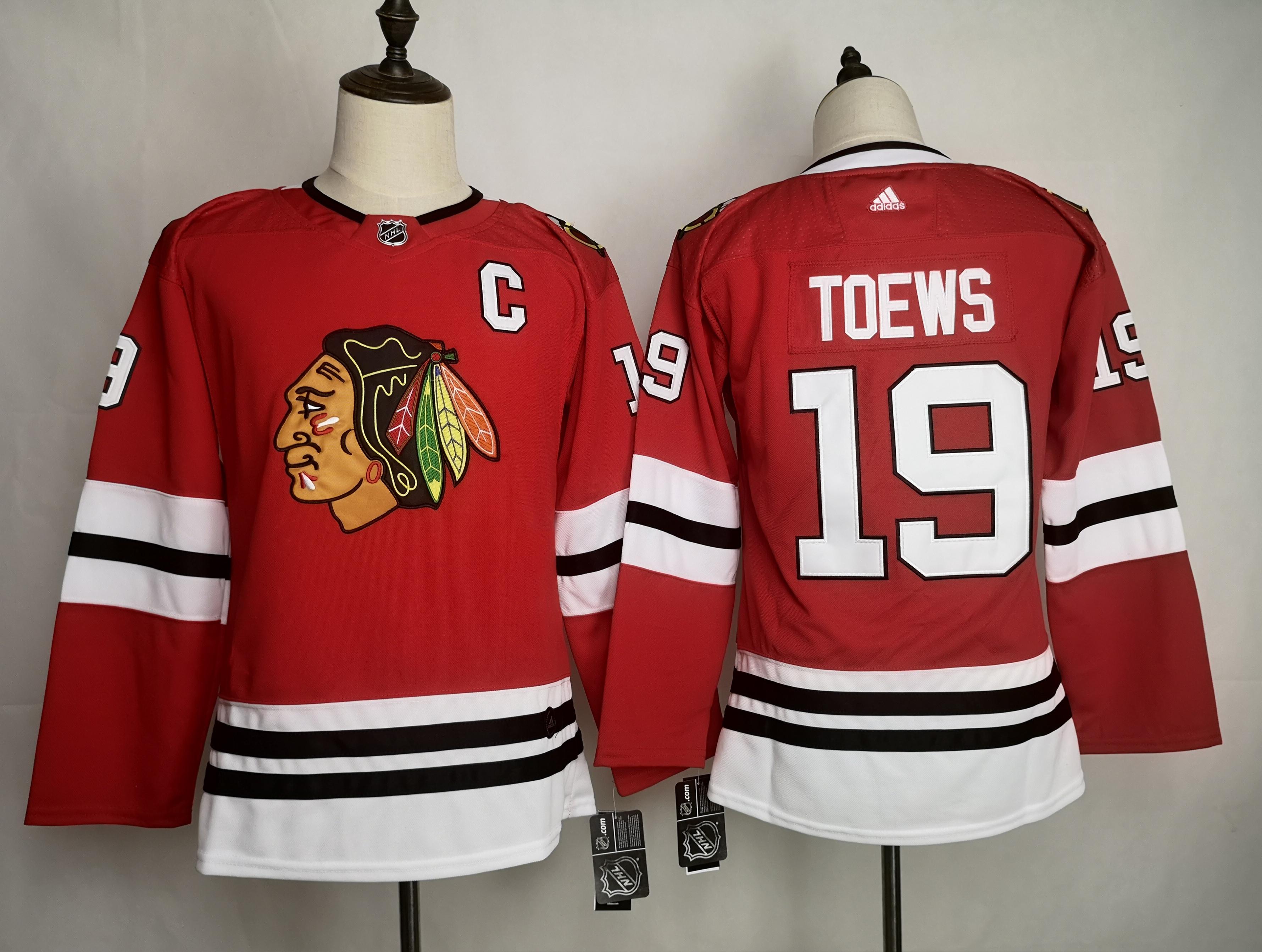 Blackhawks 19 Jonthan Toews Red Youth Adidas Jersey