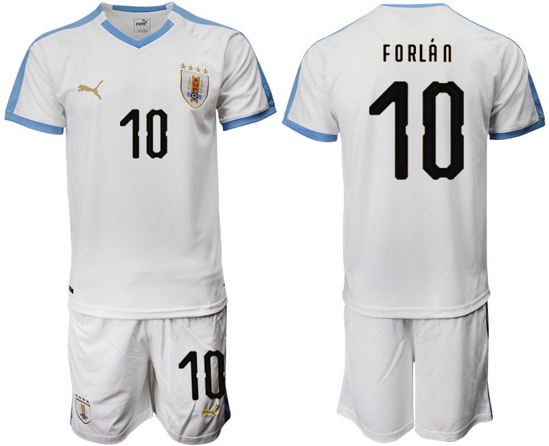 2019-20 Uruguay 10 FORLAN Away Soccer Jersey