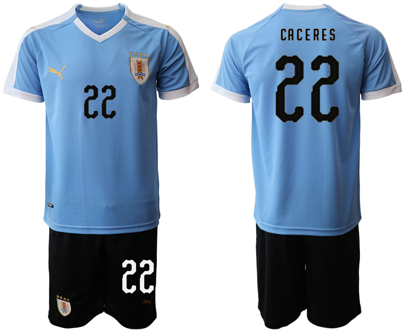 2019-20 Uruguay 22 CACERES Home Soccer Jersey