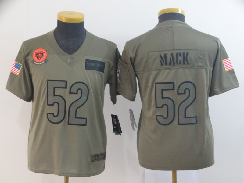 Nike Bears 52 Khalil Mack 2019 Olive Youth Salute To Service Limited Jersey
