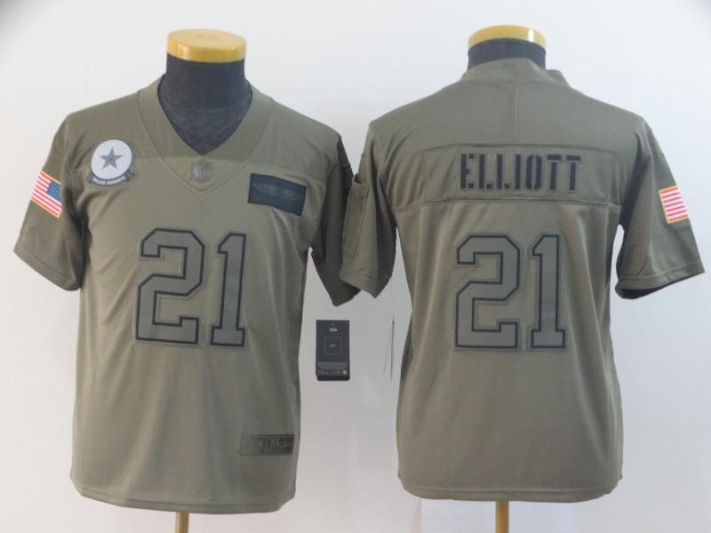 Nike Cowboys 21 Ezekiel Elliott 2019 Olive Youth Salute To Service Limited Jersey