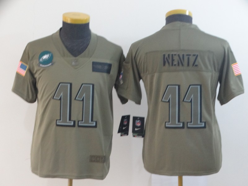 Nike Eagles 11 Carson Wentz 2019 Olive Youth Salute To Service Limited Jersey