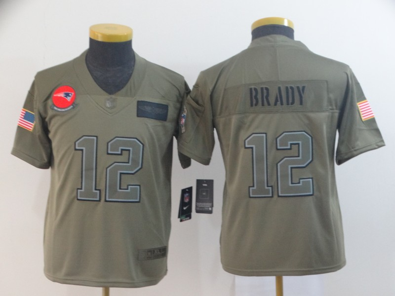 Nike Patriots 12 Tom Brady 2019 Olive Youth Salute To Service Limited Jersey