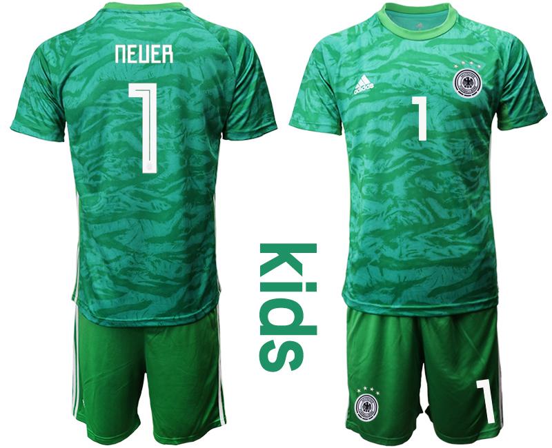2019-20 Germany 1 NEUER Green Goalkeeper Youth Soccer Jersey