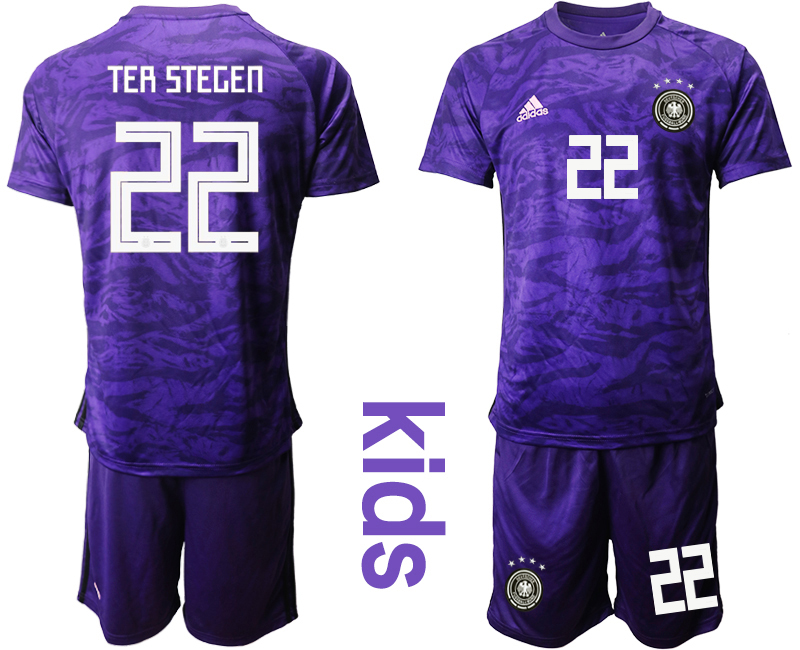 2019-20 Germany 22 TER STEGEN Purple Goalkeeper Youth Soccer Jersey