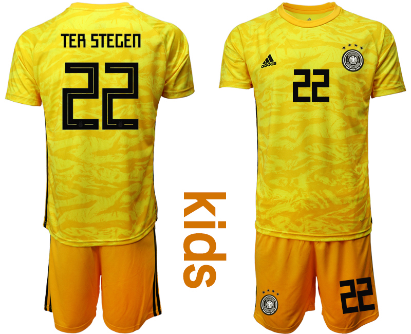 2019-20 Germany 22 TER STEGEN Yellow Goalkeeper Youth Soccer Jersey