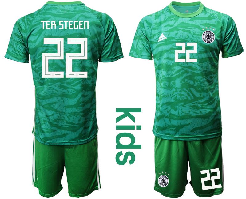 2019-20 Germany 22 ter TER STEGEN Green Goalkeeper Youth Soccer Jersey