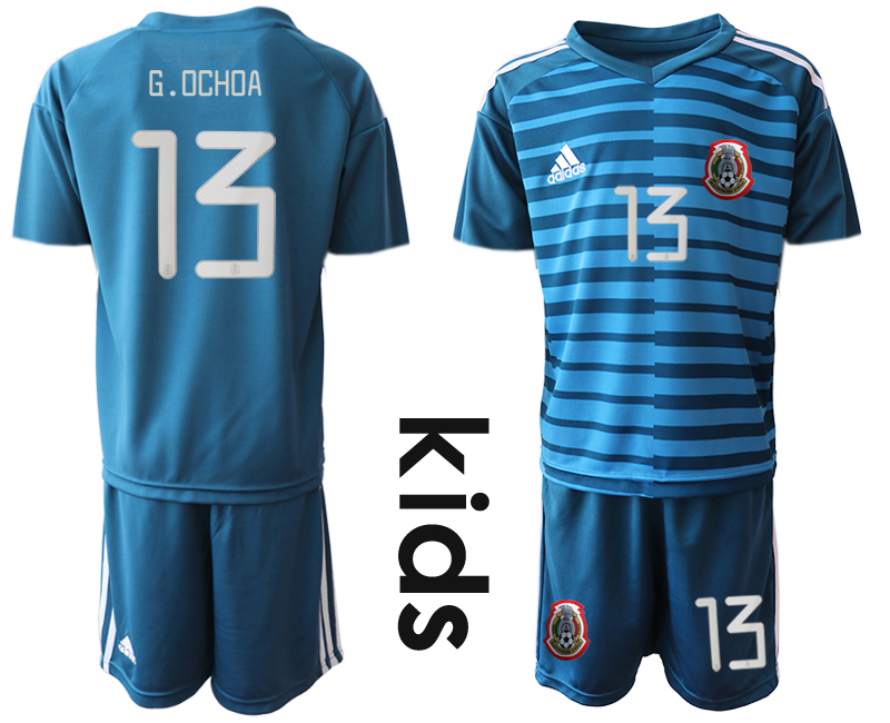 2019-20 Mexico 13 G.OCHOA Blue Youth Goalkeeper Soccer Jersey