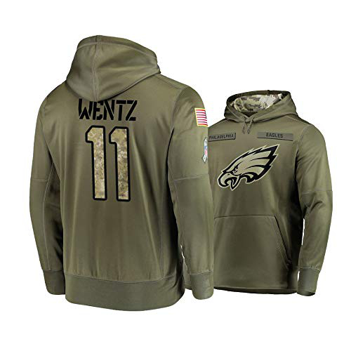 Nike Eagles 11 Carson Wentz 2019 Salute To Service Stitched Hooded Sweatshirt