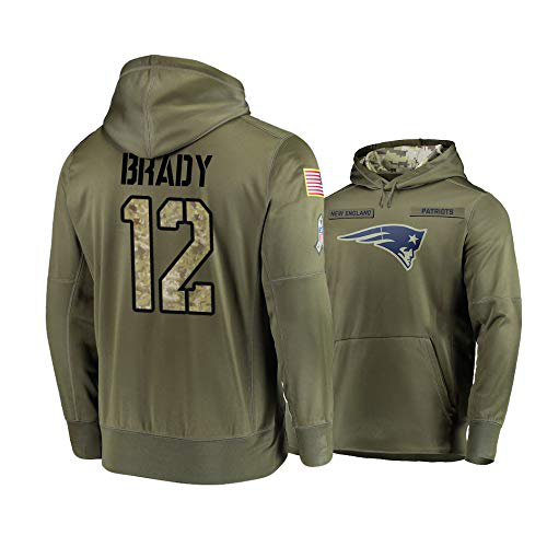 Nike Patriots 12 Tom Brady 2019 Salute To Service Stitched Hooded Sweatshirt