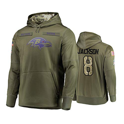 Nike Ravens 8 Lamar Jackson 2019 Salute To Service Stitched Hooded Sweatshirt