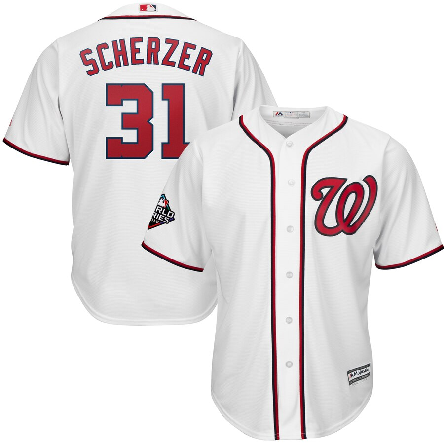Nationals 31 Max Scherzer White 2019 World Series Bound Cool Base Jersey