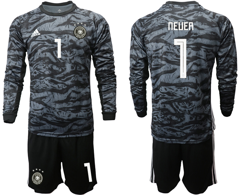 2019-20 Germany 1 NEUER Black Long Sleeve Goalkeeper Soccer Jersey