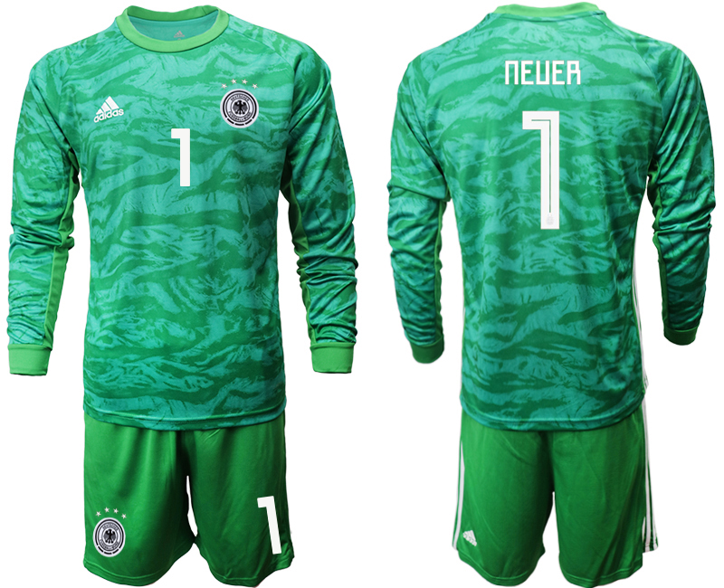 2019-20 Germany 1 NEUER Green Long Sleeve Goalkeeper Soccer Jersey