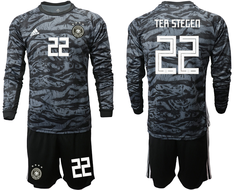 2019-20 Germany 22 TER STEGEN Black Long Sleeve Goalkeeper Soccer Jersey