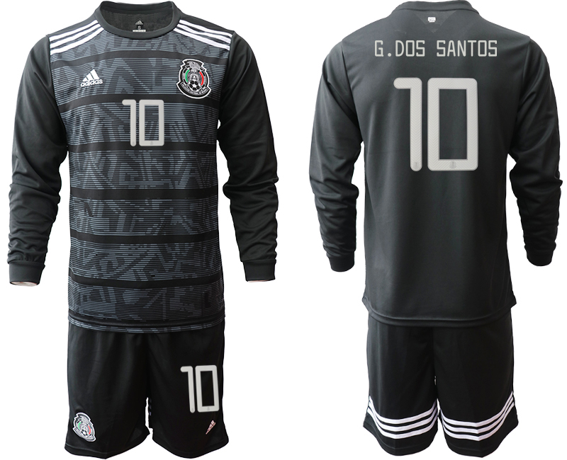 2019-20 Mexico 10 G.DOS SANTOS Home Long Sleeve Soccer Jersey