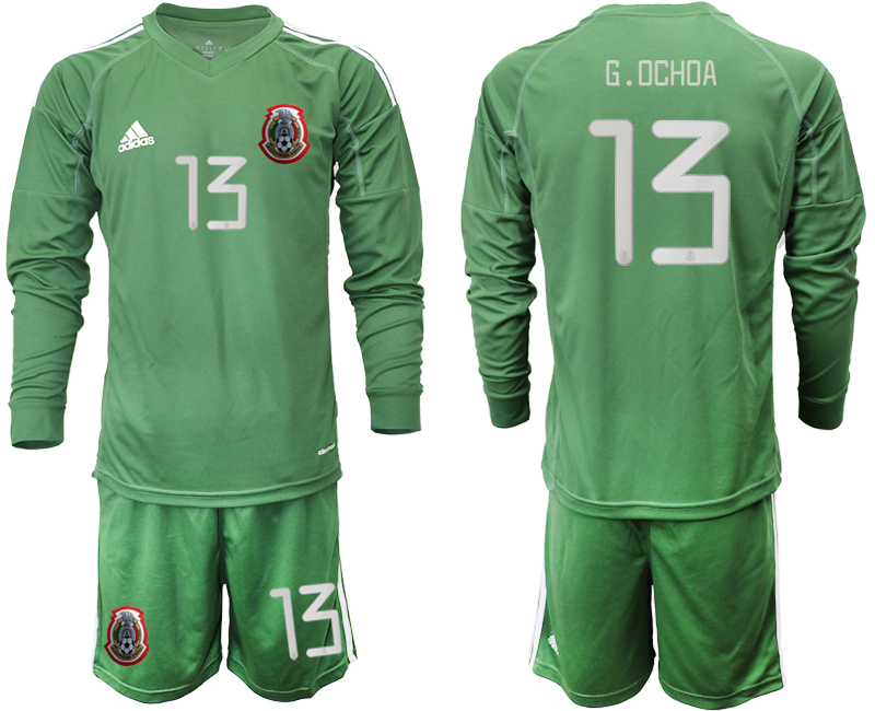 2019-20 Mexico 13 G.OCHOA Army Green Long Sleeve Goalkeeper Soccer Jersey