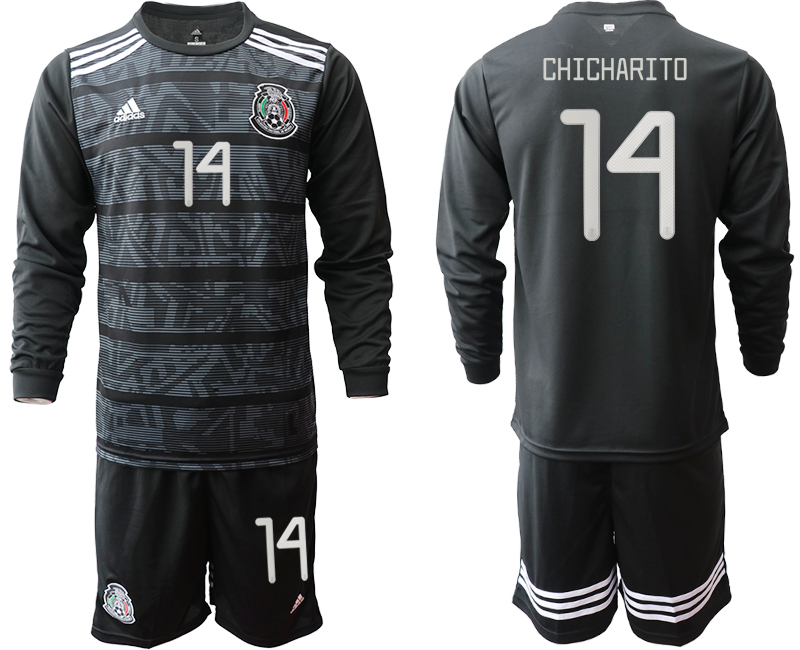 2019-20 Mexico 14 CHICHARITO Home Long Sleeve Soccer Jersey