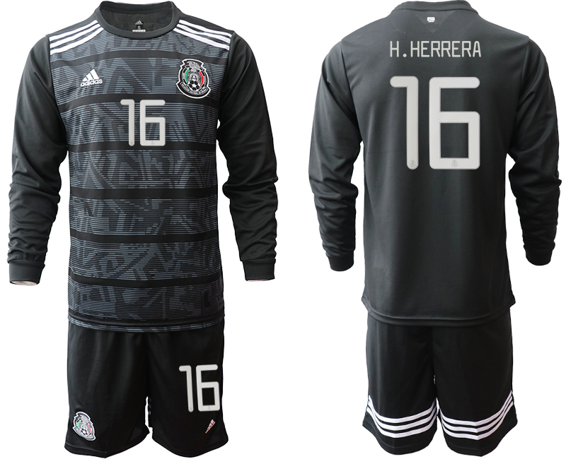 2019-20 Mexico 16 H.HERRERA Home Long Sleeve Soccer Jersey