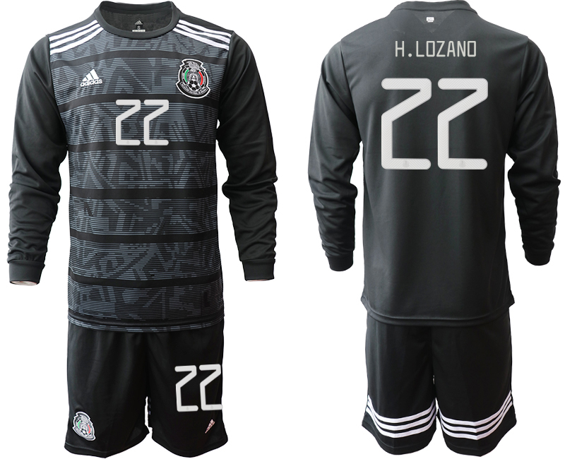 2019-20 Mexico 22 H.LOZANO Home Long Sleeve Soccer Jersey