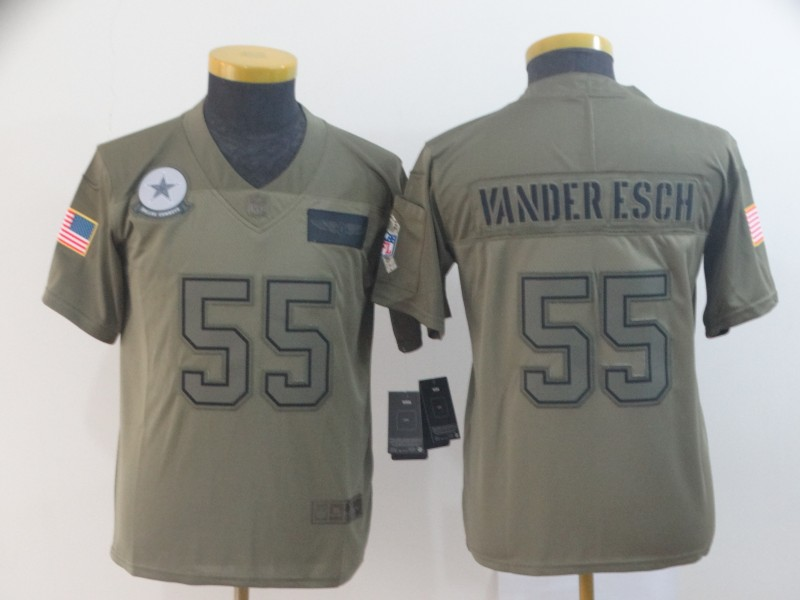 Nike Cowboys 55 Leighton Vander Esch 2019 Olive Youth Salute To Service Limited Jersey