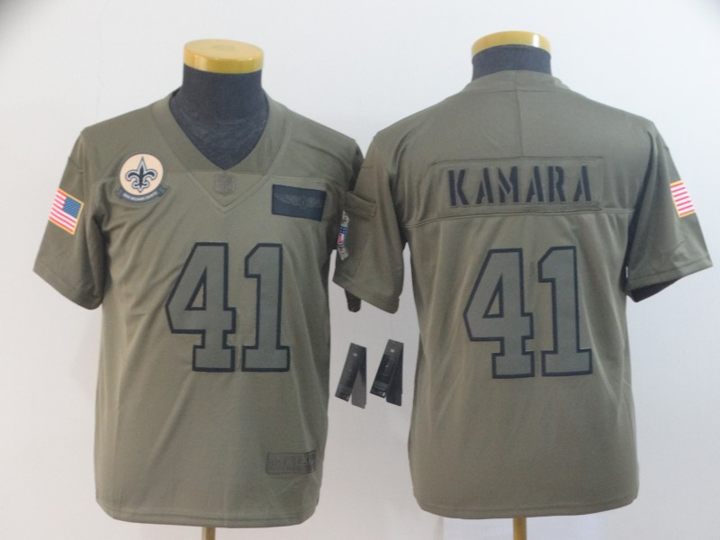 Nike Saints 41 Alvin Kamara 2019 Olive Youth Salute To Service Limited Jersey