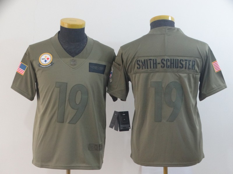 Nike Steelers 19 JuJu Smith-Schuster 2019 Olive Youth Salute To Service Limited Jersey