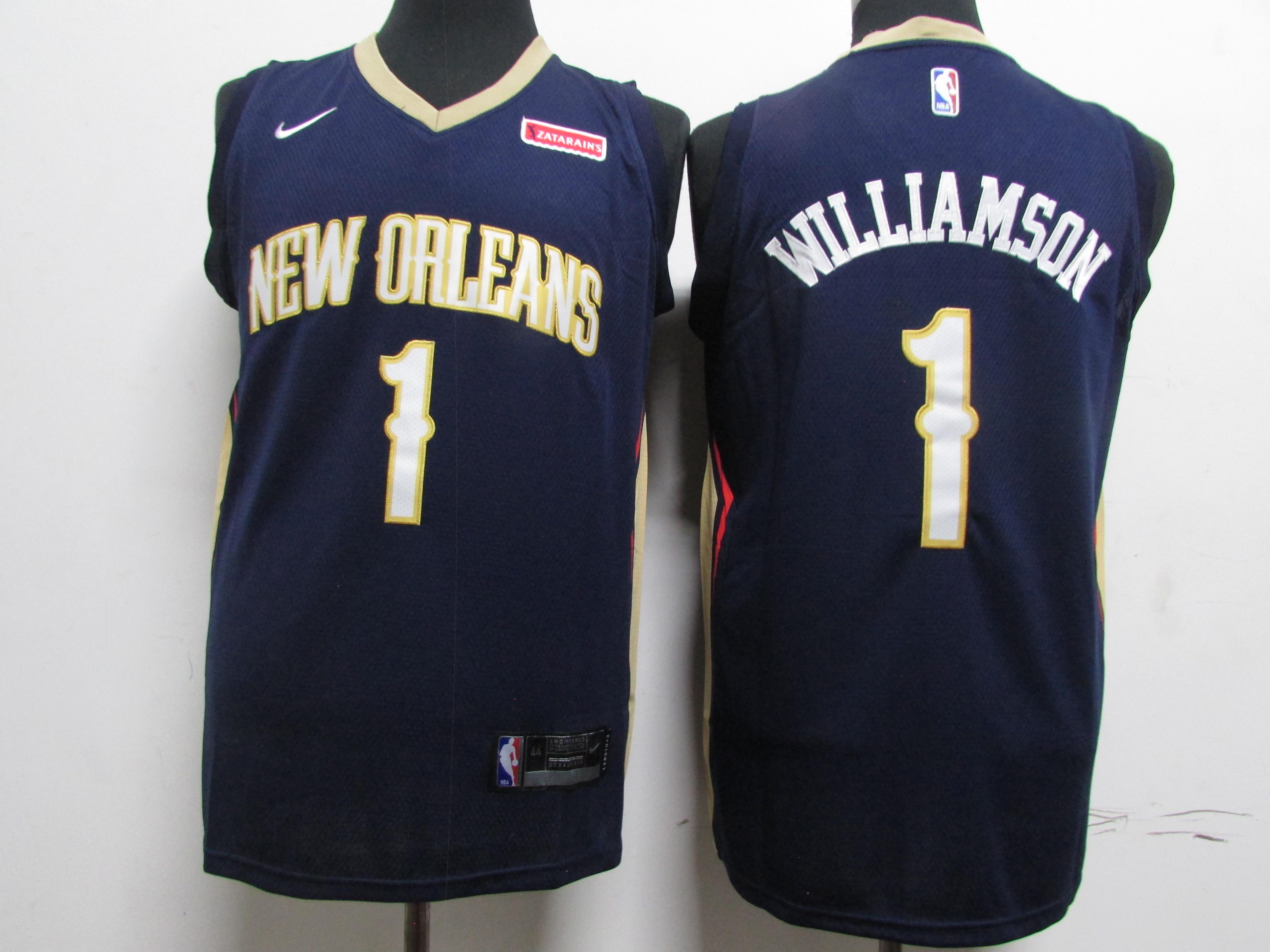 Pelicans 1 Zion Williamson Navy Earned Edition Nike Swingman Jersey