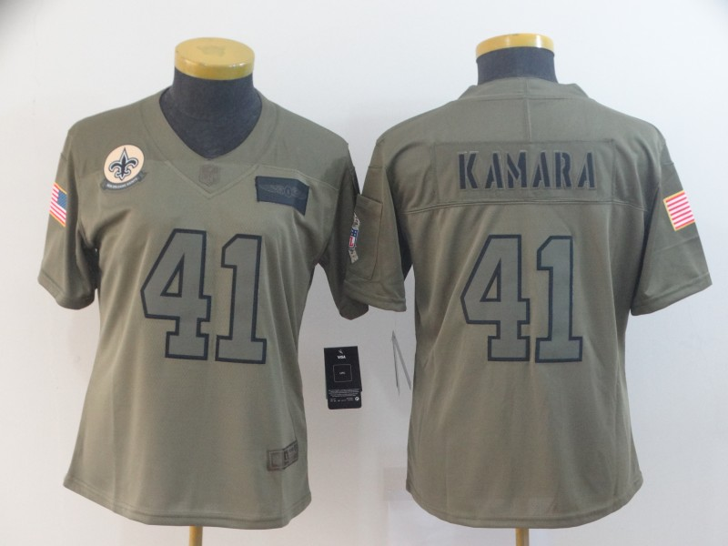 Nike Saints 41 Alvin Kamara 2019 Olive Women Salute To Service Limited Jersey
