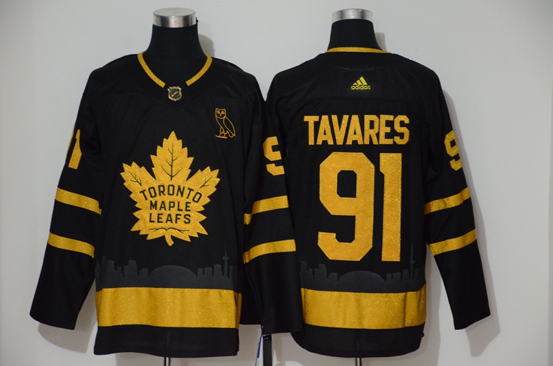 Maple Leafs 91 John Tavares Black With Special Glittery Logo Adidas Jersey