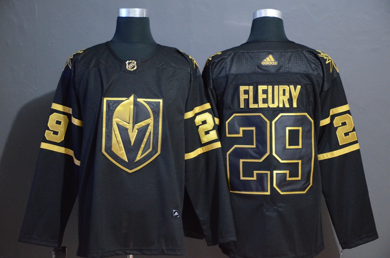 Vegas Golden Knights 29 Marc Andre Fleury Black With Special Glittery Logo Adidas Jersey