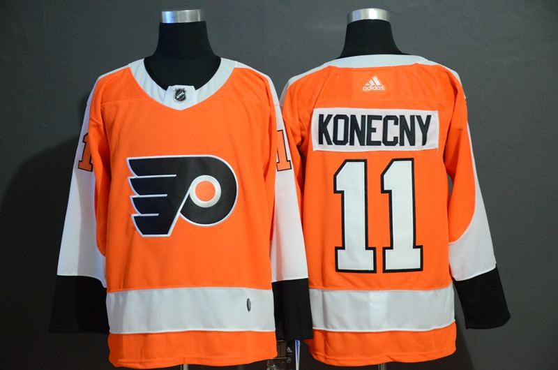 Flyers 11 Travis Konecny Orange Adidas Jersey
