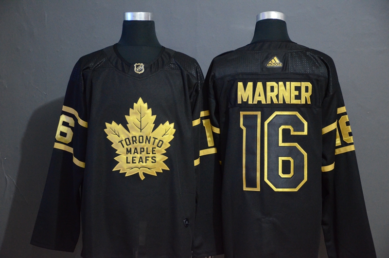 Maple Leafs 16 Mitchell Marner Black Gold Adidas Jersey
