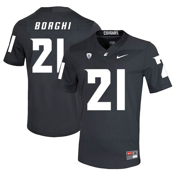 Washington State Cougars 21 Max Borghi Black College Football Jersey