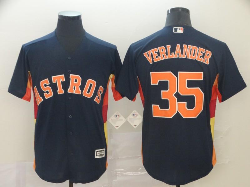 Astros 35 Justin Verlander Navy Cool Base Jersey