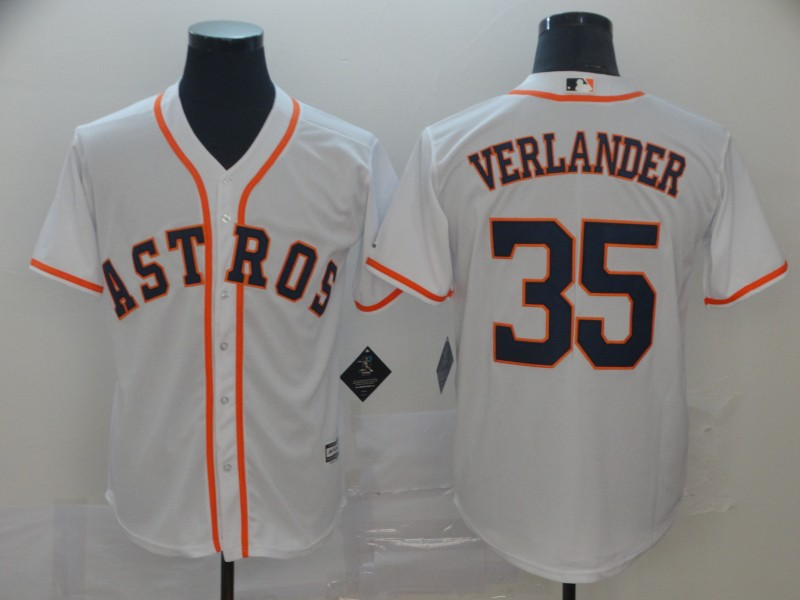Astros 35 Justin Verlander White Cool Base Jersey